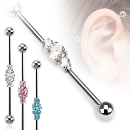 Industrial barbell with three crystals