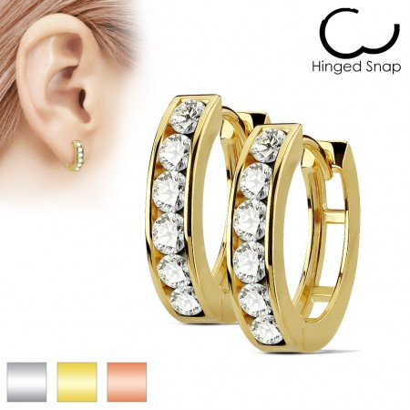 Pair earrings with six big clear diamonds