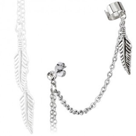 From earlobe to helix clip on chain with feathers