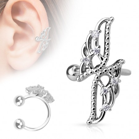 Clip on helix ring with long wings