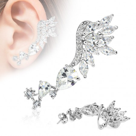 Earlobe to helix clip on shield with crystal wing