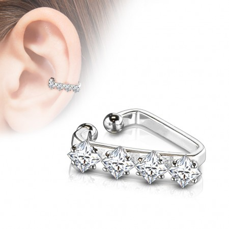 Silver triangular ear cuff with squared prong set crystals