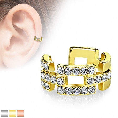Coloured three row linked ear cuff with clear crystals