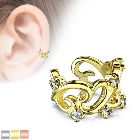 Coloured heart like shaped ear cuff with clear crystals