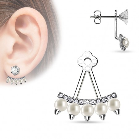 Earring add-on with fan of fake pearls