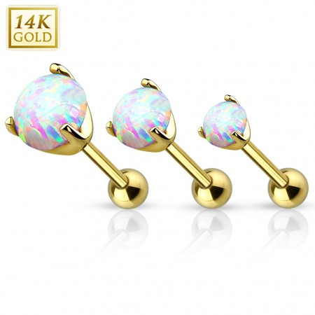 Solid gold tragus piercing with round opal crystal