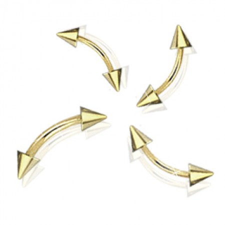 Gold plated curved barbell with spikes
