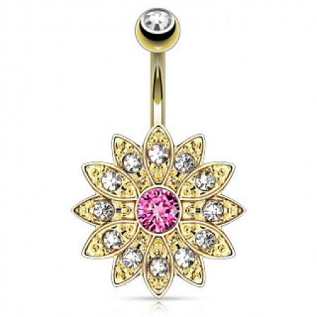 Gold plated belly button piercing with gold flower and crystals