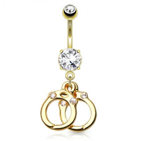 Gold plated belly piercing with handcuffs
