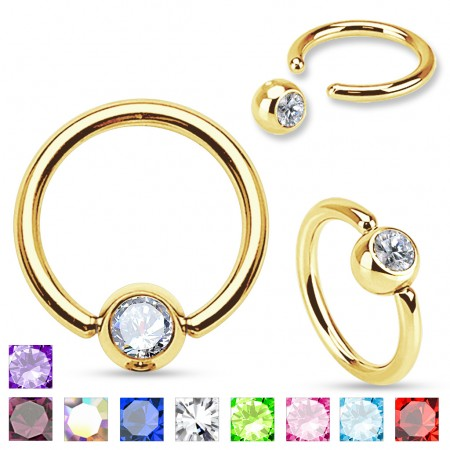 Gold plated ball closure ring with crystal