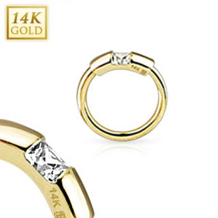 Solid gold ball closure ring with segment and crystal