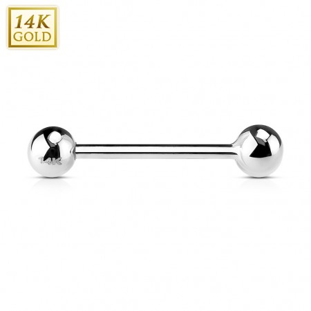 14 Kt. solid white gold barbell