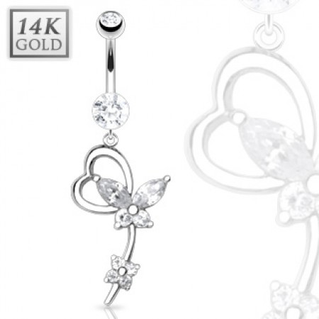 14 Kt. solid white gold belly button piercing with luxurious dangle