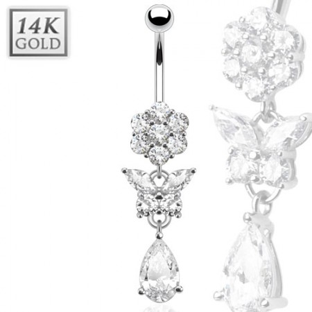 Solid white gold belly ring with flower and butterfly