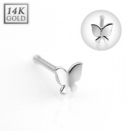 Nose bone with solid white gold butterfly