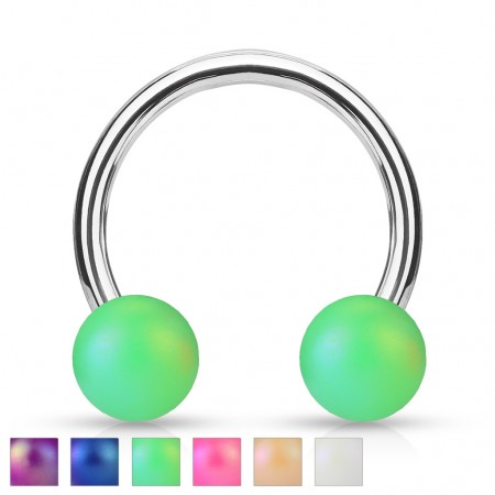 Circular barbell with matte layer on balls