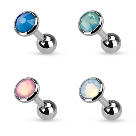 Tragus piercing with opal stone