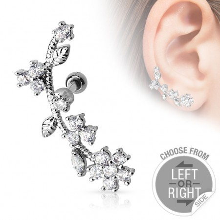 Helix piercing with flower on stem