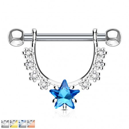 Nipple piercing with clear crystals dangle and star