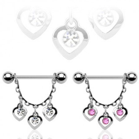 Nipple piercing with crystals and three dangling hearts