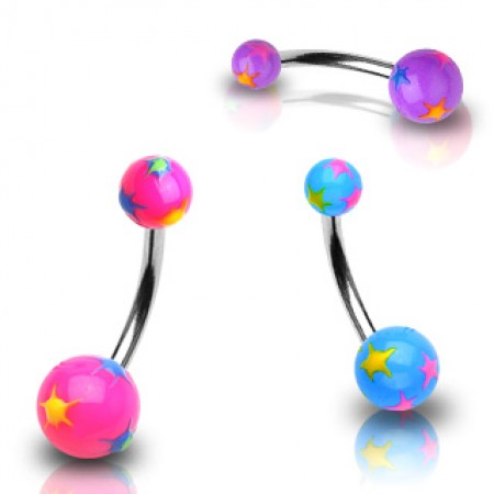 Belly bar with coloured stars on coloured balls