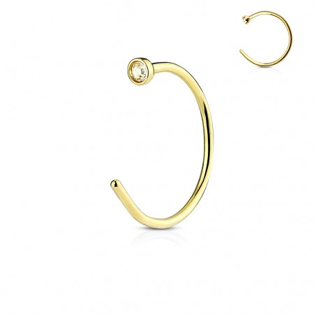 Gold plated open nose ring with clear crystal