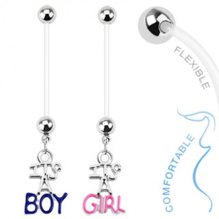 Flexible pregnancy belly piercing with It's a Boy/Girl
