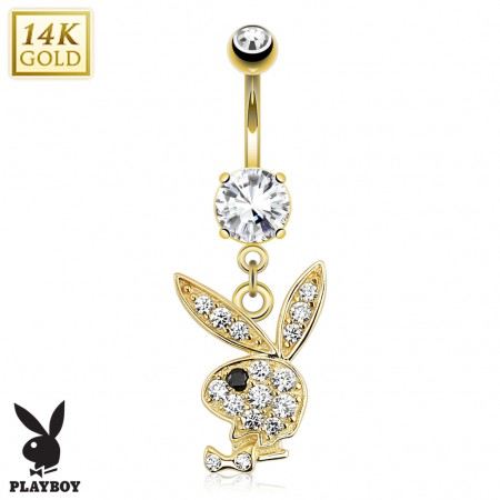 Solid gold belly piercing with crystal playboy bunny pendant aloadofball Image collections