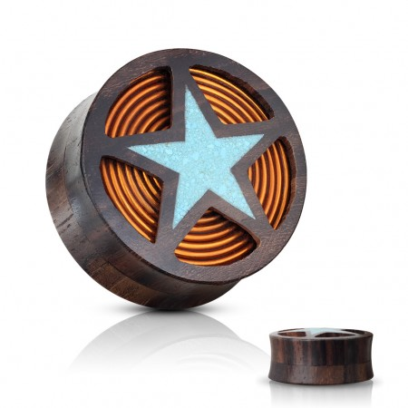 Sono wood plug with turquiose star and orange coil