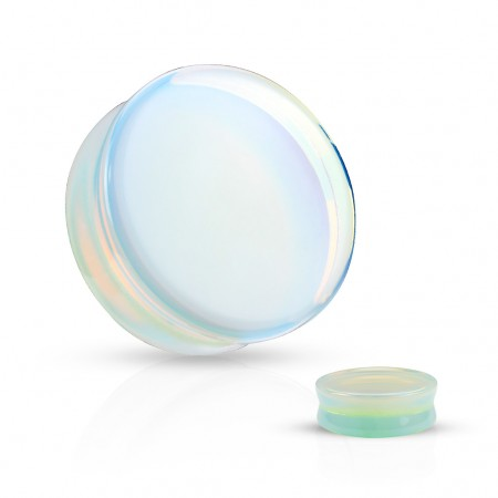 Ear plugs made of natural opalite stone