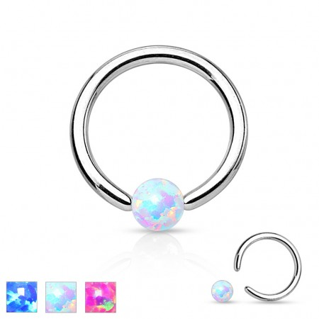 Ball closure ring with coloured opal ball