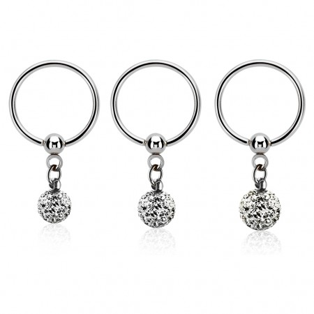 Ball closure ring with clear crystals on dangling ball