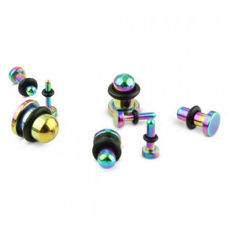 Set rainbow plugs for ear stretching from 1.6 mm to 8 mm