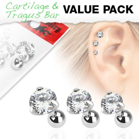 Set of three ear piercings with clear round crystals