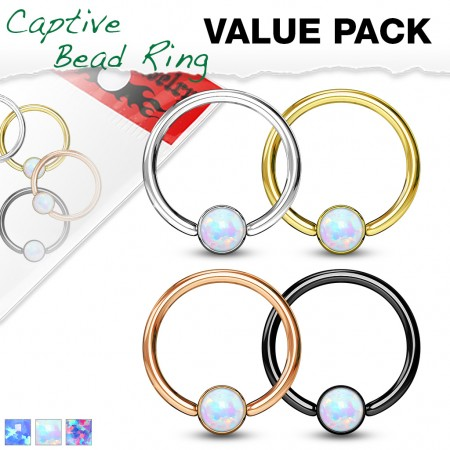 Set ball closure rings with coloured opal in cylinder