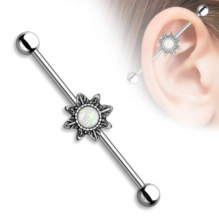 Vintage industrial barbell with tribal sunburst and glitter opal gems