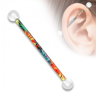 Scaffold piercing with coloured design and clear balls