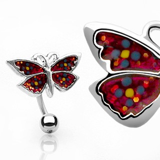Reverse belly button ring with red coloured butterfly