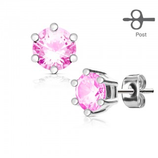 Pair ear studs with prong set diamond
