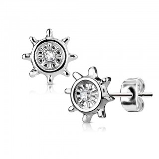 Pair ear studs with helm and clear jewel