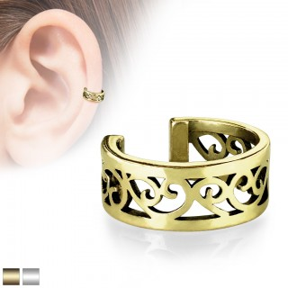 Coloured ear cuff with cut out filigree hearts