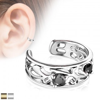 Coloured ear cuff with two black prong crystals