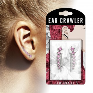 Pair ear crawlers with seven coloured crystals