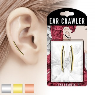 Pair coloured ear crawlers with long bar