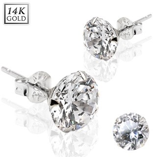 Pair of 14 kt. solid white gold earstuds with round crystal