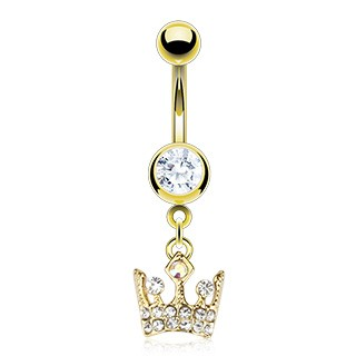 Gold belly ring with dangling crystallised crown