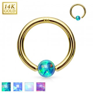 Solid gold ball closure ring with opal ball