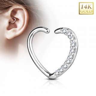 Solid gold earring heart with crystals for left ear