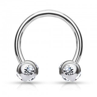 Circular barbell with balls filled with 5 jewels