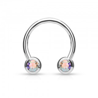 Steel circular barbell with coloured crystals